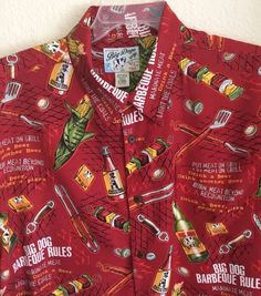Big Dogs Men's Shirt Size XL - BBQ and Beer Theme Button-Front Short Sleeves #BigDogs #ButtonFront