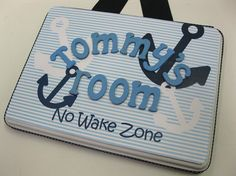 No Wake Zone Boys Nautical Anchor Navy BlueRoom by RibbonMade, $25.00