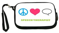 UKBK Peace Love Speech Therapist - Neoprene Clutch Wristlet with Safety Closure - Ideal case for Camera, Cell Phone, Gameboy, Passport, Cosmetics case