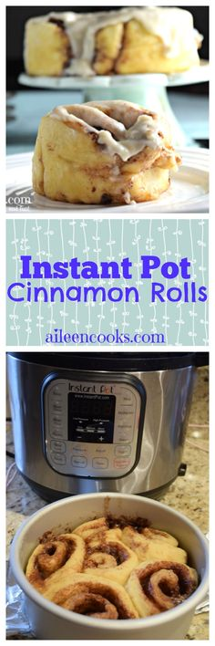 Make these ooey gooey delicious instant pot cinnamon rolls from scratch. No rise time needed! One of our favorite instant pot desserts / instant pot breakfast recipes! via @aileencooks