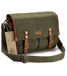 ZLYC Vintage Style DSLR SLR Canvas Camera Shoulder Bag with Shockproof Removable Padded Insert, Green >>> To view further, visit