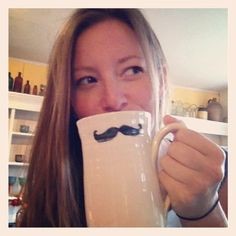Moustache Movember Coffee Mug Hand Painted by VillagePottery, $30.00