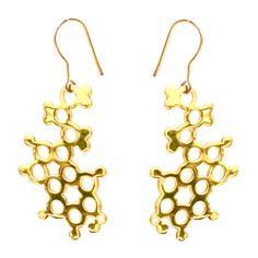 Serotonin Earrings, Gold - Molecular Jewellery