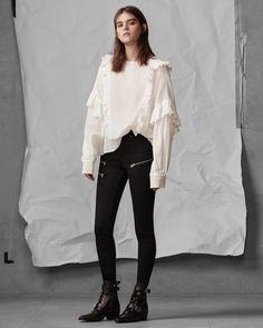 March Women's Lookbook Look 4: Isa Top, Graze Zip Jeans, Lucie Boot Minimal Fashion, High Fashion, Womens Fashion, Rocker Chic, London Fashion, Everyday Fashion, Autumn Fashion, Casual Outfits, Women Wear