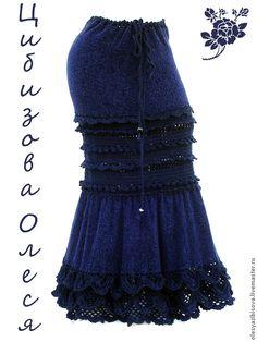 """Купить Вязаная юбка длинная """"Черная Ежевика"""" - однотонный, вязаная юбка, юбка крючком"""