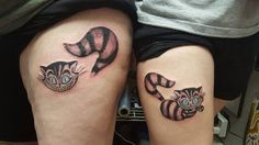 Mother/Daughter Cheshire Cat tattoos. Alice in Wonderland.