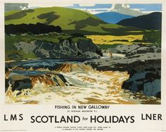 Fishing In New Galloway Railway Vintage Retro Oldschool Old Good Price Poster