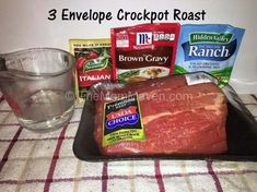 3 Envelope Crockpot Roast - The Mom Maven - 3 envelope crockpot roast, a simple dinner meal for the whole family with a delicious sauce. 3 Envelope Crockpot Roast – The Mom Maven Crock Pot Slow Cooker, Crock Pot Cooking, Cooking Recipes, Game Recipes, Recipies, Roast Beef Slow Cooker, Venison Roast Crockpot, Cooking Ideas, Meal Recipes