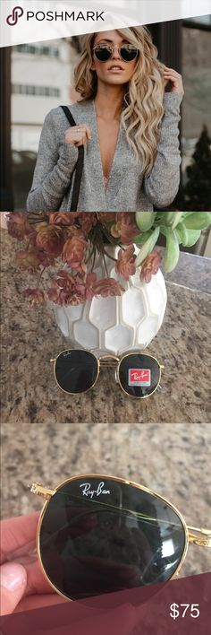 NWT Round Ray-Ban RB3447 Black/Gold These are round Ray-Bans RB3447 sunglasses in black lens and gold frame... standard size... These sunglasses do not come with a case Ray-Ban Accessories Sunglasses