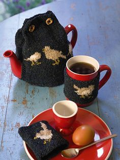 Egg Cosy, Tea Cosy and Mug Hug knitted in Rowan Fine Tweed from Cute Little Knits Revised by Jem Weston - English Yarns