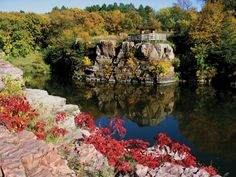 Palisades ~ Garretson SD. Split Rock Creek flows through the park & is lined w/Sioux Quartzite formations varying from shelves several feet above the water to 50' vertical cliffs.