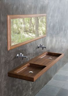 Furniture designed by us, defined by nature Wood Sink, Wood Bathroom, Wooden Furniture, Furniture Design, Oak Vanity Unit, Centre Table Living Room, Garden Swing Seat, Architecture 3d, Washbasin Design