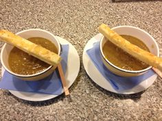 Lovely homemade Lentil & Vege Soup with cheese pastry strips.