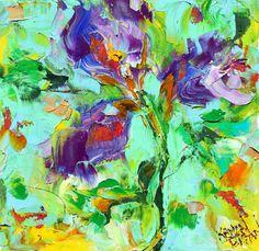Original oil painting Summer Iris Flower by Karensfineart,