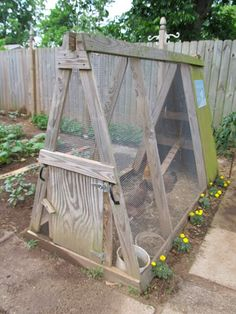 Chicken coop for the garden - build one to fit between garden beds so the chickens eat the weeds and bugs.  Build another to fit on the beds to clean them up/add fertilizer/turn it over/eat bugs after harvest.  Brilliant!