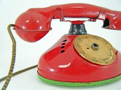 Vintage tin telephone I just bought this in black at a yard sale for 4.00 :)