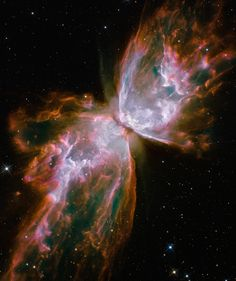 Sometimes called the butterfly nebula, planetary nebula NGC 6302's hourglass shape is created by roiling cauldrons of gas heated to more than 36,000 degrees Fahrenheit.