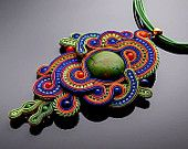 Colored soutache pendant with the green turquoise.