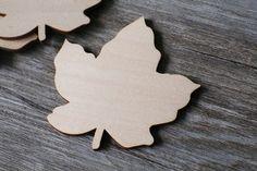 Unfinished wooden Maple leaf shape,plain leaf shape for autumn decorations ,DIY Crafting Wood laser