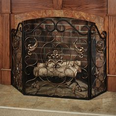 Ordinaire Taleisin Scroll Fireplace Screen Bronze