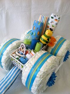 Boy Diaper Cake  Diaper Wagon by PamperedBabyCreation on Etsy, $85.00