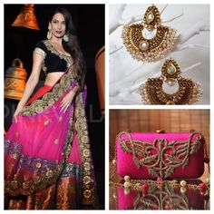 Outfit inspiration! Hot pink and navy blue lengha with a pink loveto clutch bag and the Jodha earrings from Tyche London (£28)