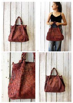"""Handmade woven leather bag """"INTRECCIATO 84"""" di LaSellerieLimited su Etsy"""