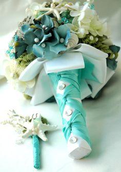 Sea Shell Bridal Bouquet WeddingTiffany Blue Bridal by BoHoBridal