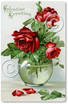 vintage roses Valentine Card