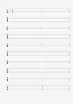 Blank Guitar, Ukulele and Bass Sheet Music For Hand Writing Guitar Tab or Chord…