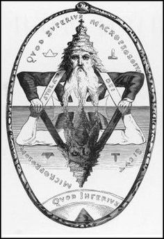 The phrase surrounding the oroboros in the above image is 'Quod Superius Macroprosopus, Quod Inferius Microprosopus.'  It is equivalent to the Latin phrase 'Quod superius sicut quot inferius' which means 'As above, so below.'