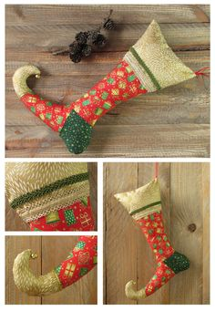 christmas stocking decorated with ribbons in red gold and green with golden bell handmade christmas decoration for tree or door knob