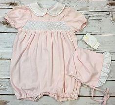 NEW Petit Ami Pink White Smocked Short Romper + Bonnet Set Baby Girl 6M / Flaw  | eBay
