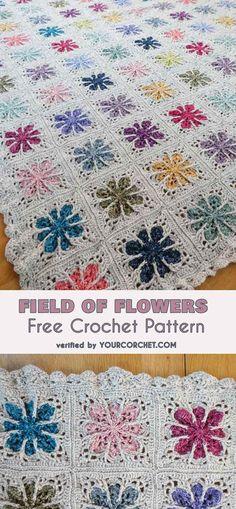 Field of Flowers Blanket Free Crochet Pattern | Your Crochet #freecrochetpatterns #crochetblanket #crochetflowers