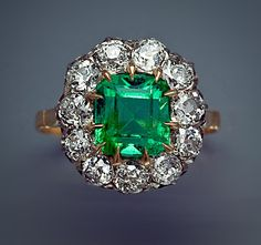 Antique Emerald Old European Cut Diamond Cluster Gold Ring - Victorian Jewelry 1800s