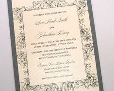 Vintage Wedding Invitation - Elegant Wedding Invitation - Rustic Wedding Invitation - Lace Wedding Invitation - Ivory Grey - Ava Sample