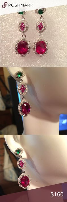 Genuine Ruby and Emerald These are gorgeous and elegant earrings and are crafted in solid.925 Sterling Silver with 18k white gold overlay and contains genuine Ruby, Emerald, white and pink sapphire💥 Jewelry Earrings