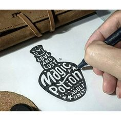 Clever hand-lettering and sketch.