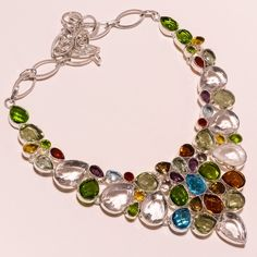 .925 Sterling silver crystal+peridot+bt+smoky quartz+multi Necklace f69 86gm #Handmade #Necklace