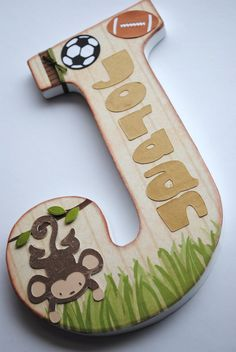Custom Wooden Wall Letters - Hanging Letters - Nursery Letters - Monkey / Jungle Theme Customized Name Letter. $24.00, via Etsy.