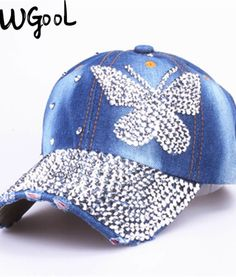 16 Beauty caps new design popular women rhinestone denim baseball cap  fashion brand woman jean crystal hip hop snapback hats 77074cd55f44