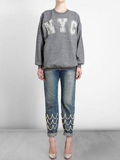 Ashish 'nyc' Sweatshirt - Browns - Farfetch.com, embellished jeans