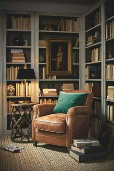 Minimalist living room is extremely important for your home. Because in the living room all the activities will starts in your pretty home. findthe elegance and crisp straight Minimalist Living Room Size. Home Library Rooms, Home Library Design, Home Office Design, House Design, Cozy Home Library, Library Study Room, Library Corner, Small Home Libraries, Home Study Rooms