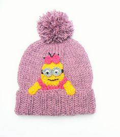 Minion Hat, Cute Girls Hat, Despictable Me Hat,  Pom Pom Hat, Knit Beanie, Pink Yellow Hat, Funny Hat,  Kids Winter Outfit, Girls Accessory
