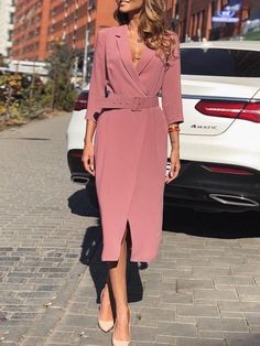 Solid V-Neck Belted Blazer Dress - 2019 Simple Dresses, Day Dresses, Casual Dresses, Fashion Dresses, Dresses For Work, Women's Fashion, Fashion Coat, Dresses Online, High Fashion