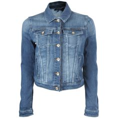ARMANI JEANS Womens Blue Denim Western Style Lace Edge Jacket ($325) via Polyvore