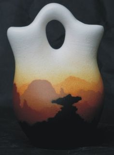 """Sunset Canyon Pottery - Wedding Vase. 3"""" x 4"""". Authentic Native American Pottery hand painted by Navajo and Ute Indian Artists. Certificate of Authenticity with each piece. Pottery. Southwest Pottery. Native American Pottery. $23.95. Pottery. Southwest Pottery, Native American Pottery. Southwest Pottery, Wedding Stuff, Wedding Ideas, Native American Pottery, Wedding Vases, Indian Artist, Glazes For Pottery, Navajo, Authenticity"""
