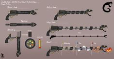 """Weapon Commissions - """"Livvin' that mug life. Anime Weapons, Sci Fi Weapons, Weapon Concept Art, Weapons Guns, Armor Concept, Arsenal, Fantasy Sword, Fantasy Weapons, Gauntlet Weapon"""