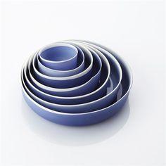 NIESSING, 7 blauwe schaaltjes (set van 7 in een houten kistje)