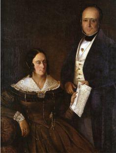 Retrato de casal desconhecido atribuído a Roquemont, década de 1840